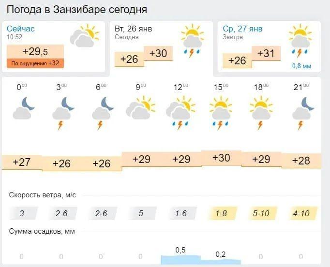 Погода в Занзибаре