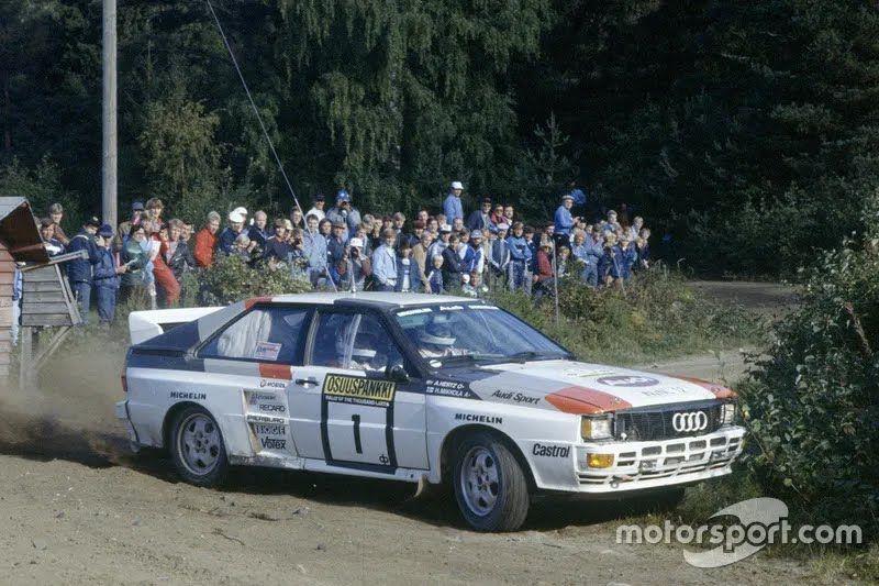"""Ханну Миккола и Арне Герц в Audi Quattro на пути к победе в """"1000 озер"""" в 1983 году, когда они завоевали титул чемпионов мира"""