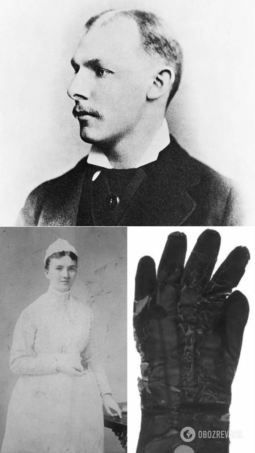 Молодий Вільям Холстед, 1880 рік; Керолайн Гемптон, 1889 рік; рання гумова хірургічна рукавичка, яку носив хірург Джонса Хопкінса Джон М. Т. Фінні
