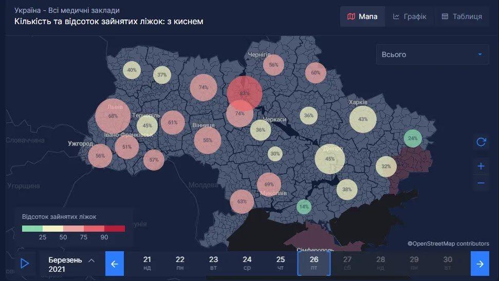 Сравнение показателей на карте страны