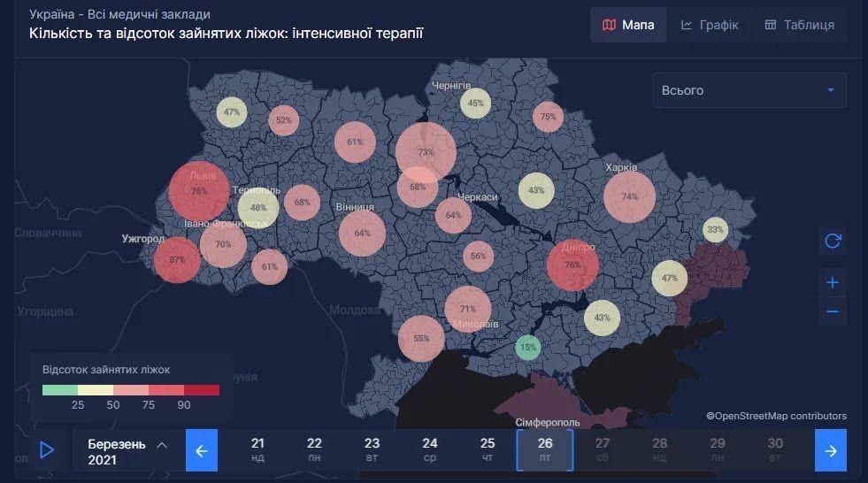 Статистические показатели на карте
