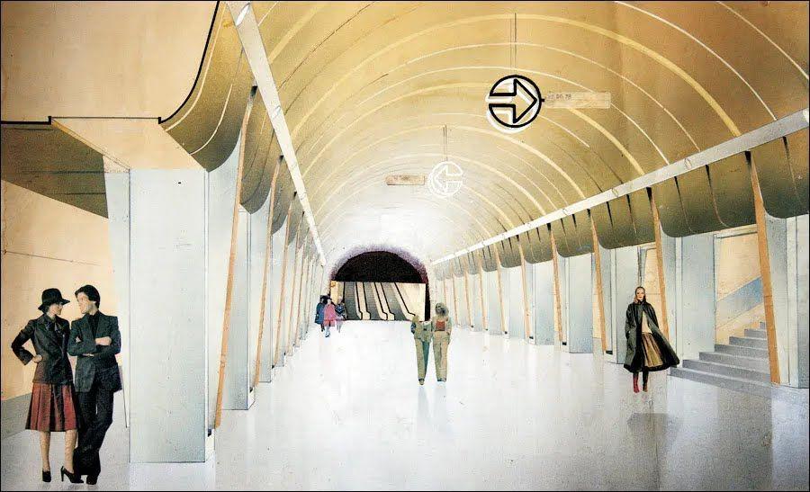 Один из конкурсных вариантов эскиза станции начала 80-х.
