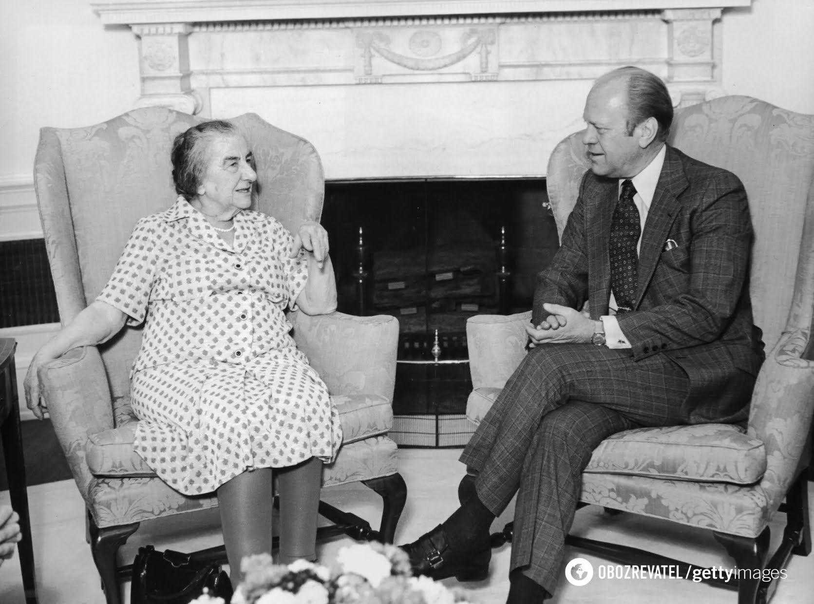 Голда Меир и президент США Джеральд Форд, Вашингтон, США, 1976 год