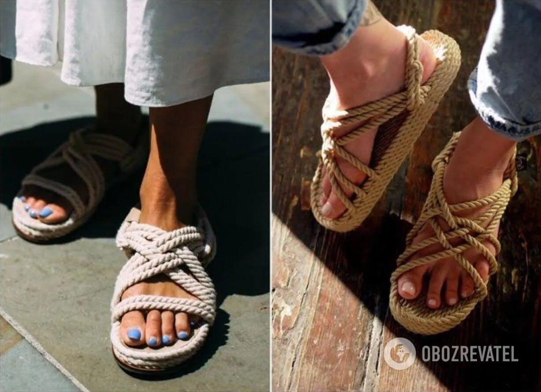 Alberta Ferreti, Dior, Boss и Birkenstock представили большое разнообразие сандалий с веревками