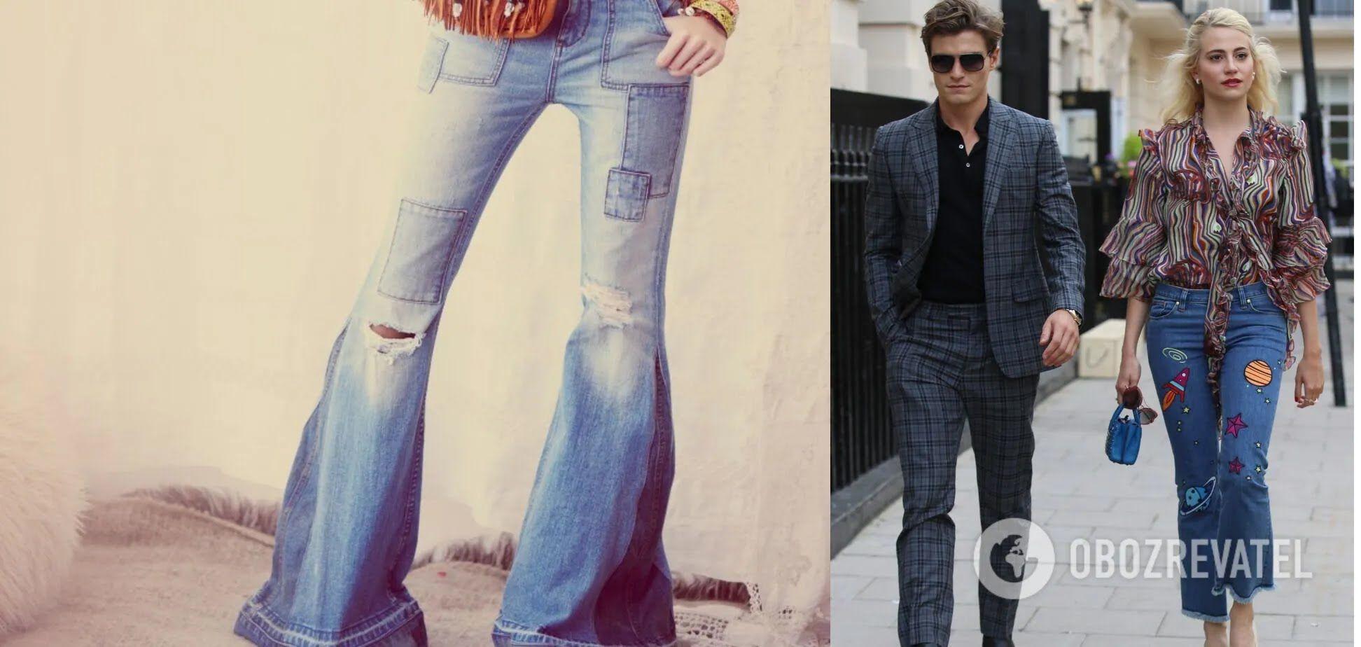 Элементы хиппи и гранж в отделке джинсов