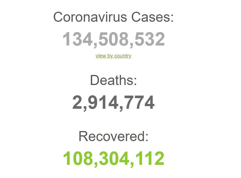 Коронавирус в мире по состоянию на 9 апреля.