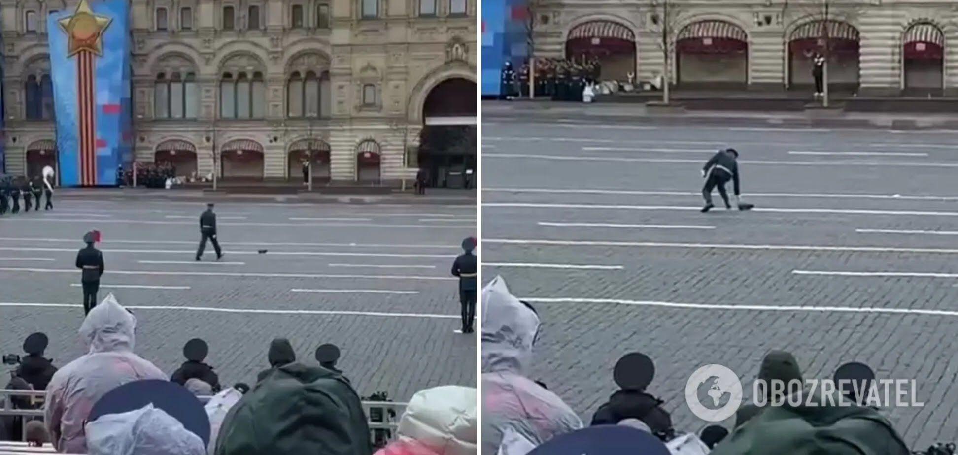 Российский военный потерял сапог на Красной площади