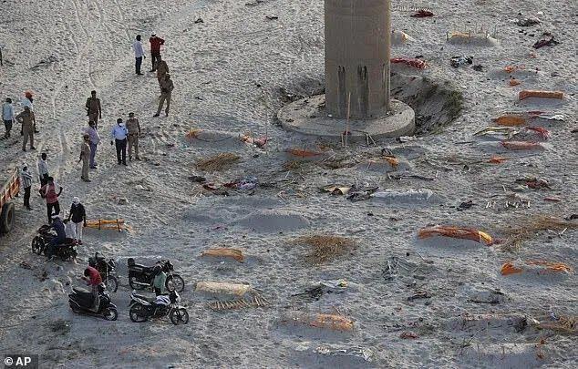 Тела умерших на берегу реки в Индии.