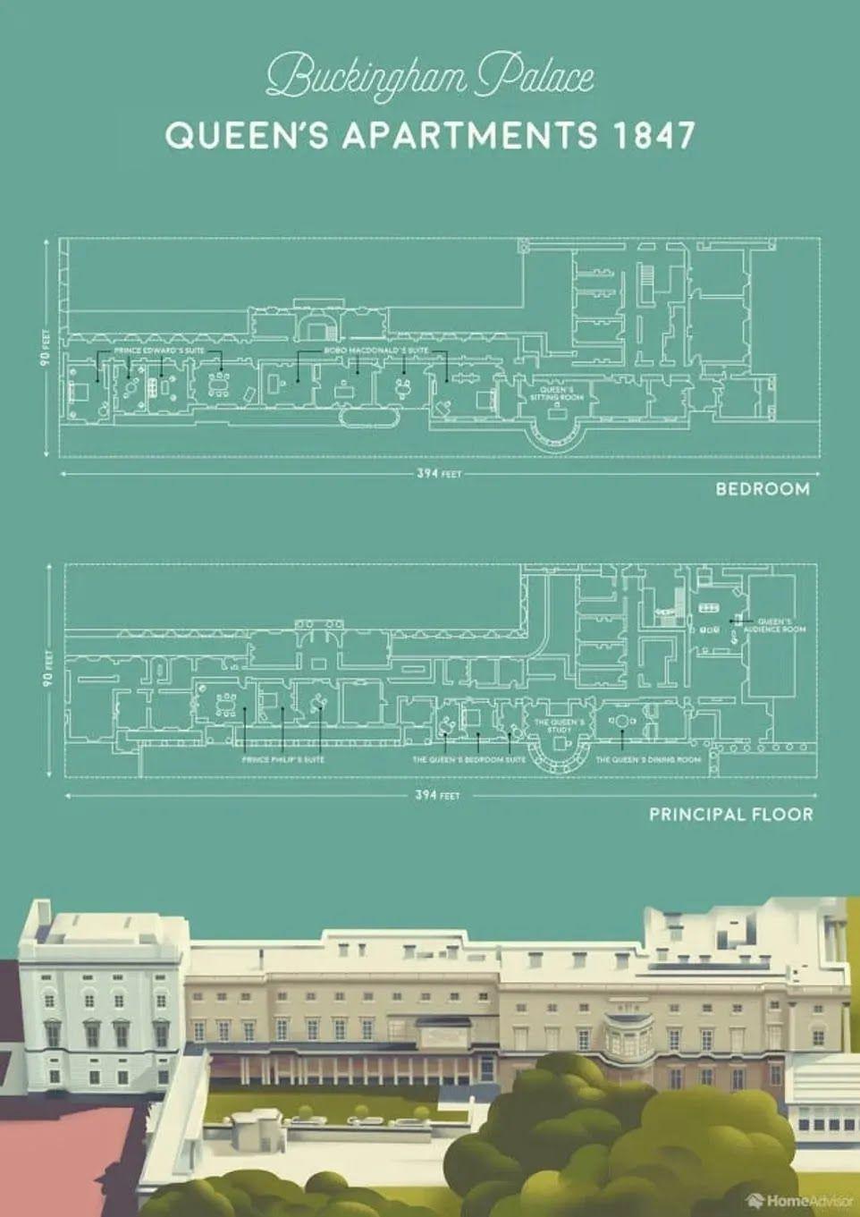 Восточное крыло Букингемского дворца знаменито железными воротами