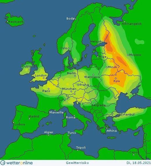 Карта дождей и гроз в Украинеы 18 мая