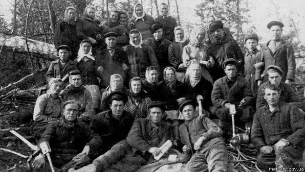 Бригада на лесоповале, Марийская АССР, 1950 год