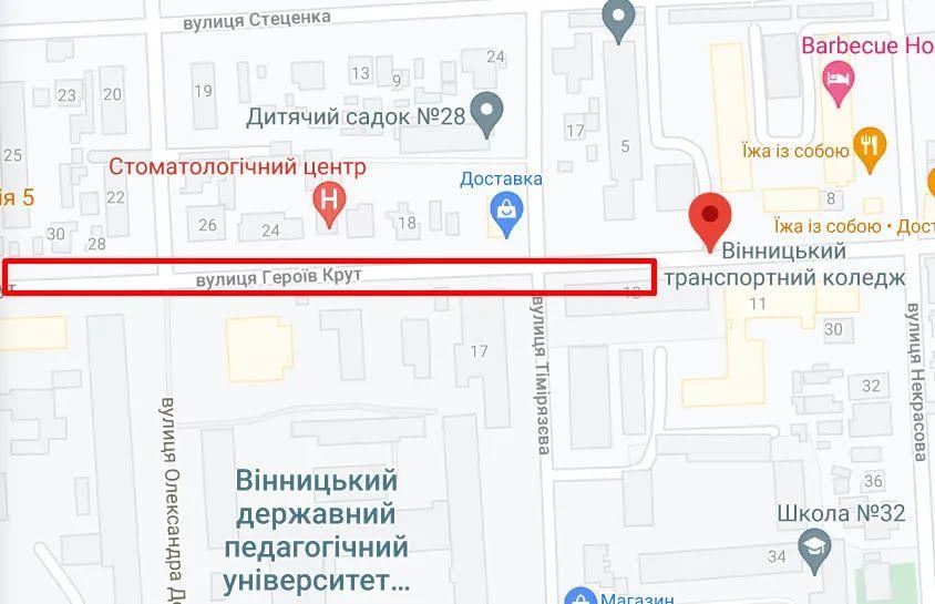 Вулиця у Вінниці, де помітили нетверезого водія