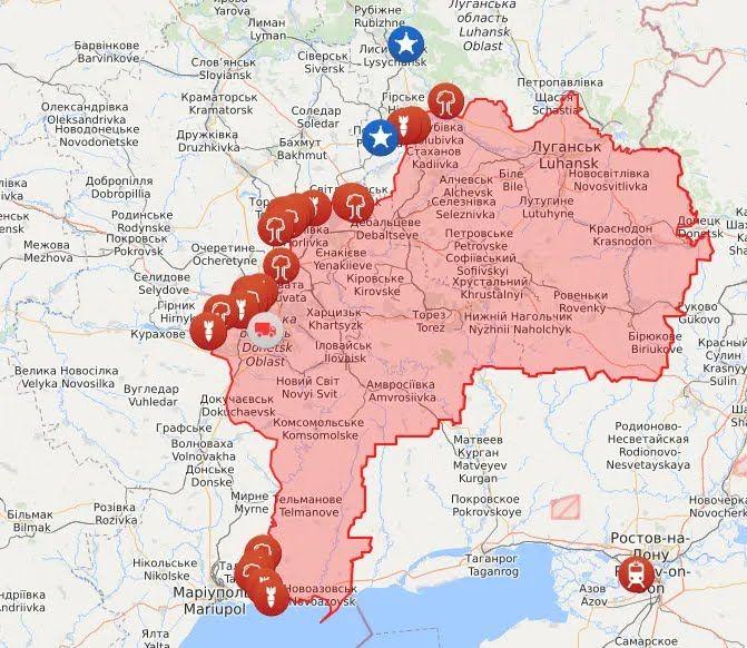 Карта войны на Донбассе на 2 мая.