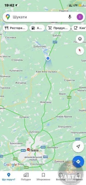Місце обвалу моста на мапі