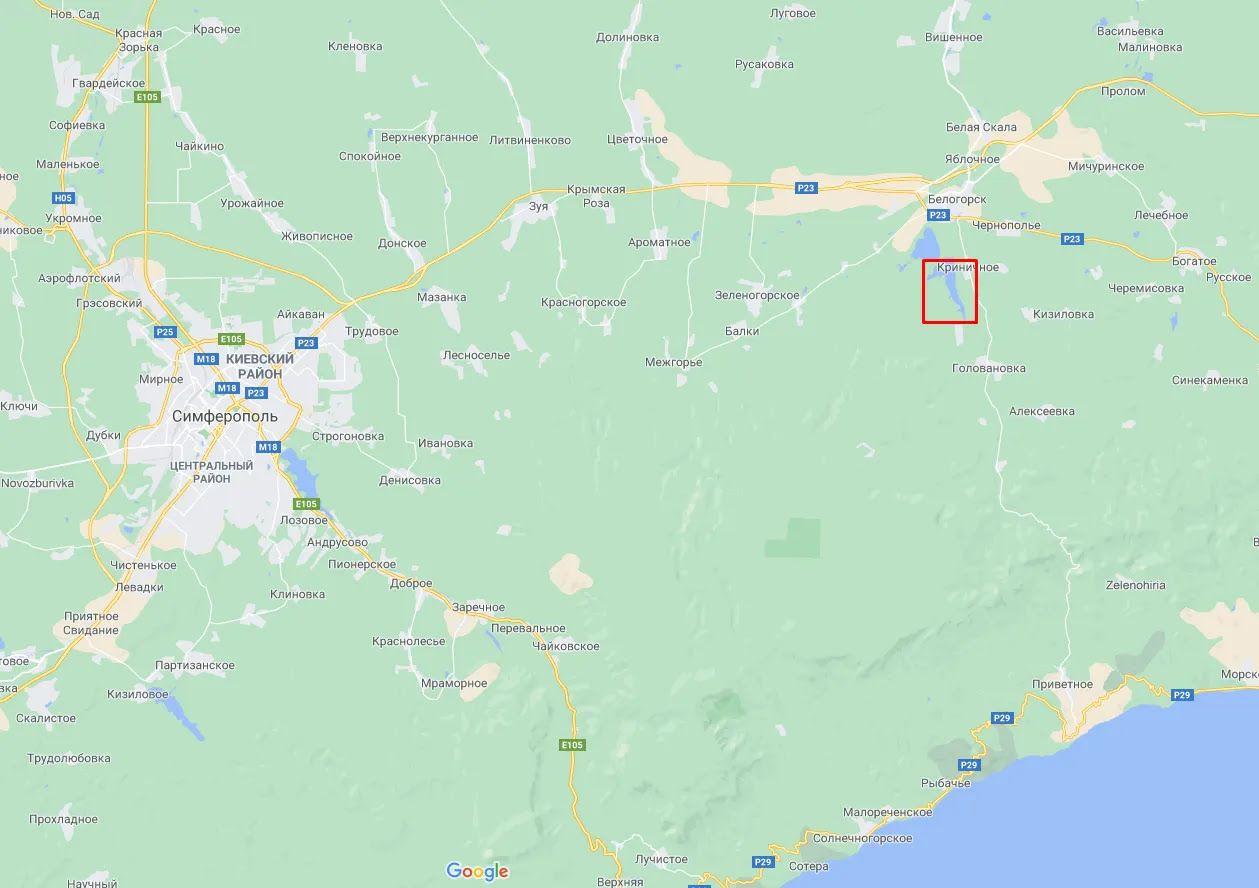 Расположение Белогорского водохранилища.