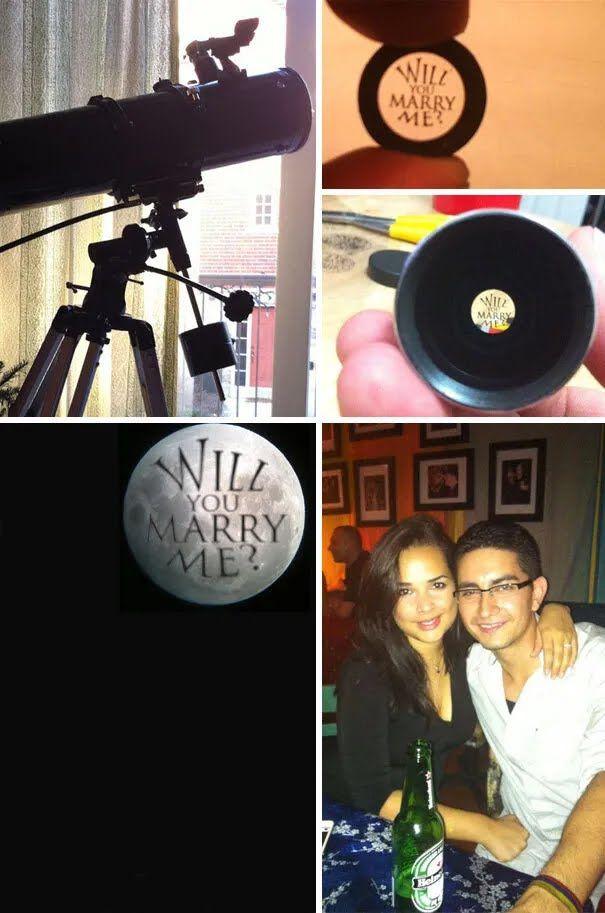 Мужчина через телескоп сделал предложение.