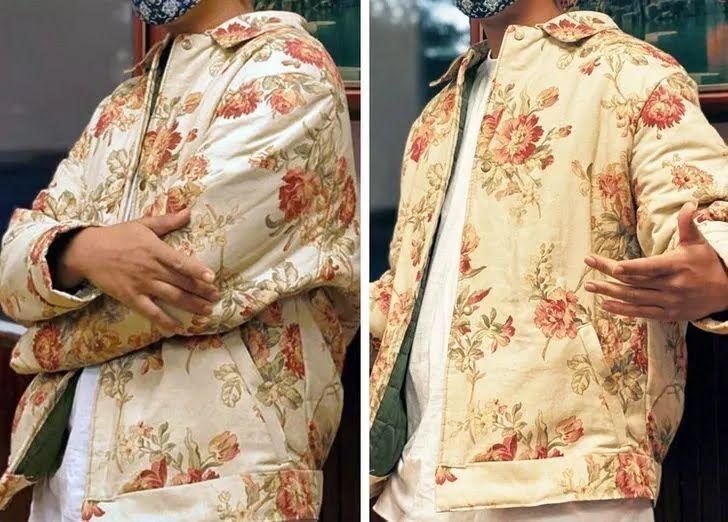 Чоловік зшив куртку з гардин і ковдри.