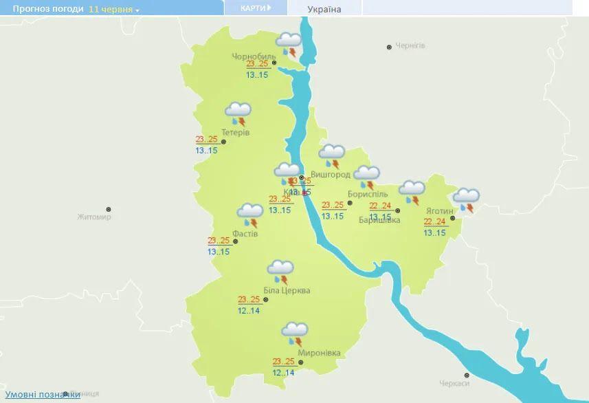 Погода в Киевской области в пятницу