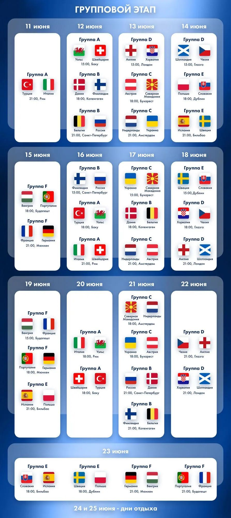 Календарь группового этапа Евро-2020.