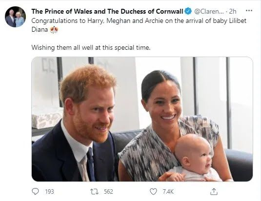 У принца Гарри и Меган Маркл родилась дочь.