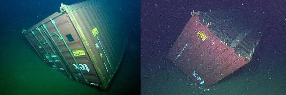 На дне океанов лежат тысячи контейнеров, которые потеряли корабли.