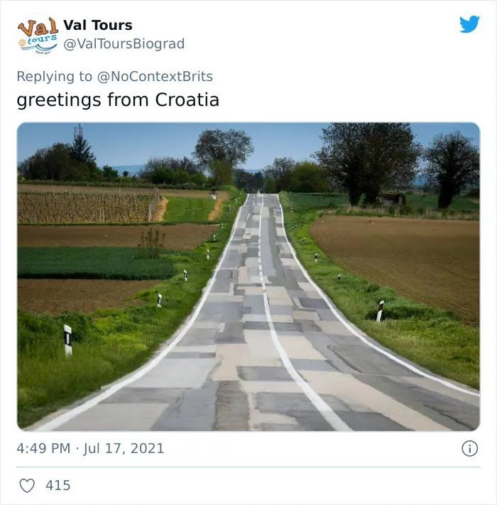 Дорогу в Хорватии решили сделать из всех видов асфальта.