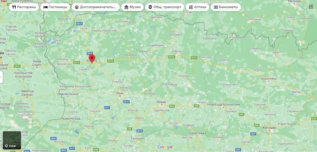 Ковель на мапі