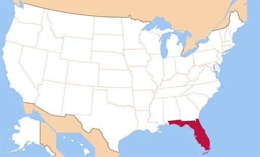Штат Флорида на карте США.