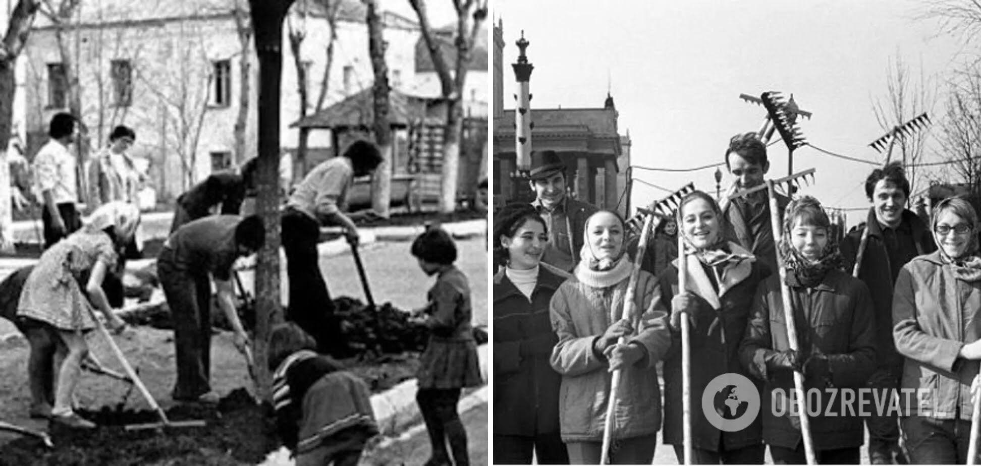 Все граждане СССР вынуждены идти на субботники.