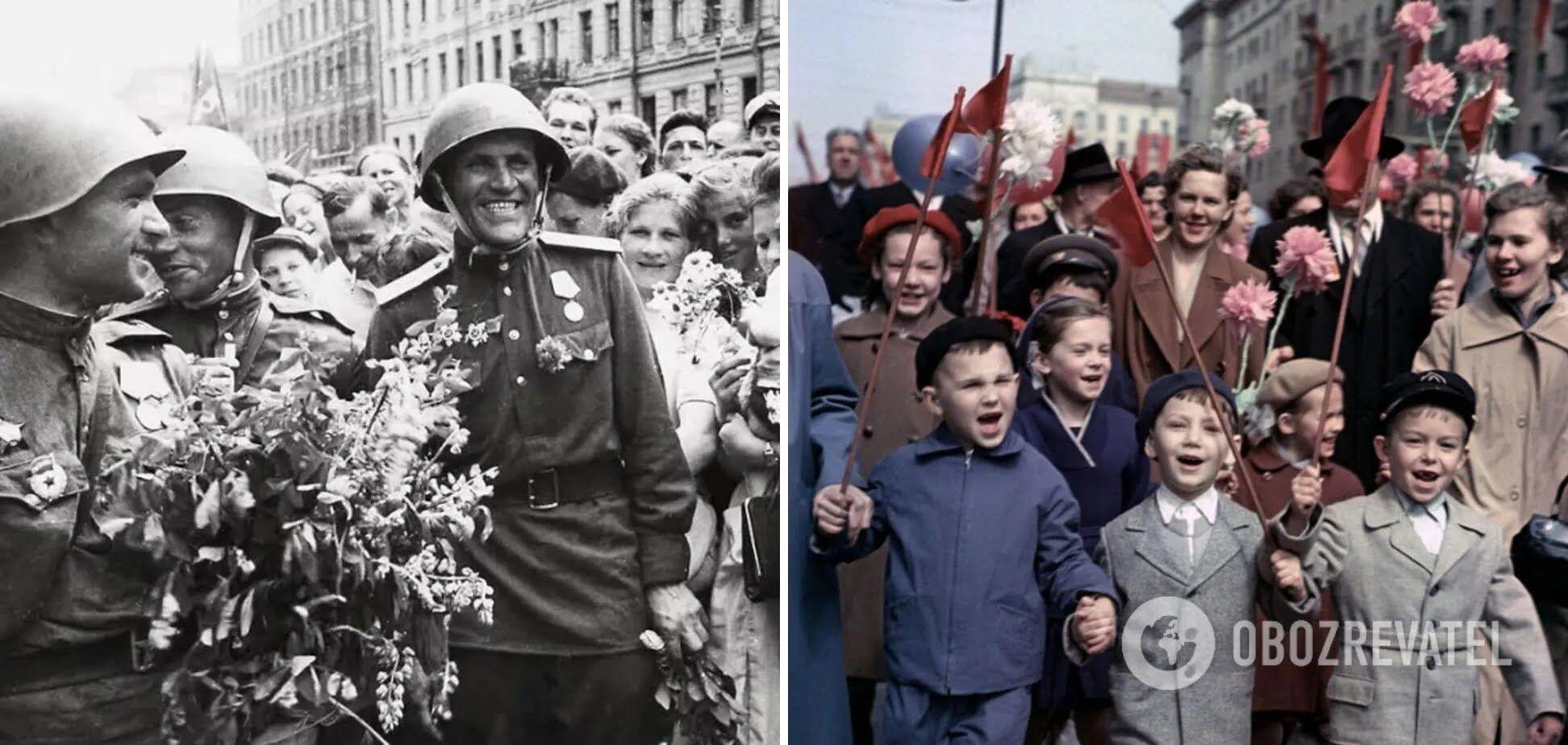 Все люди шли на парад в честь различных праздников.