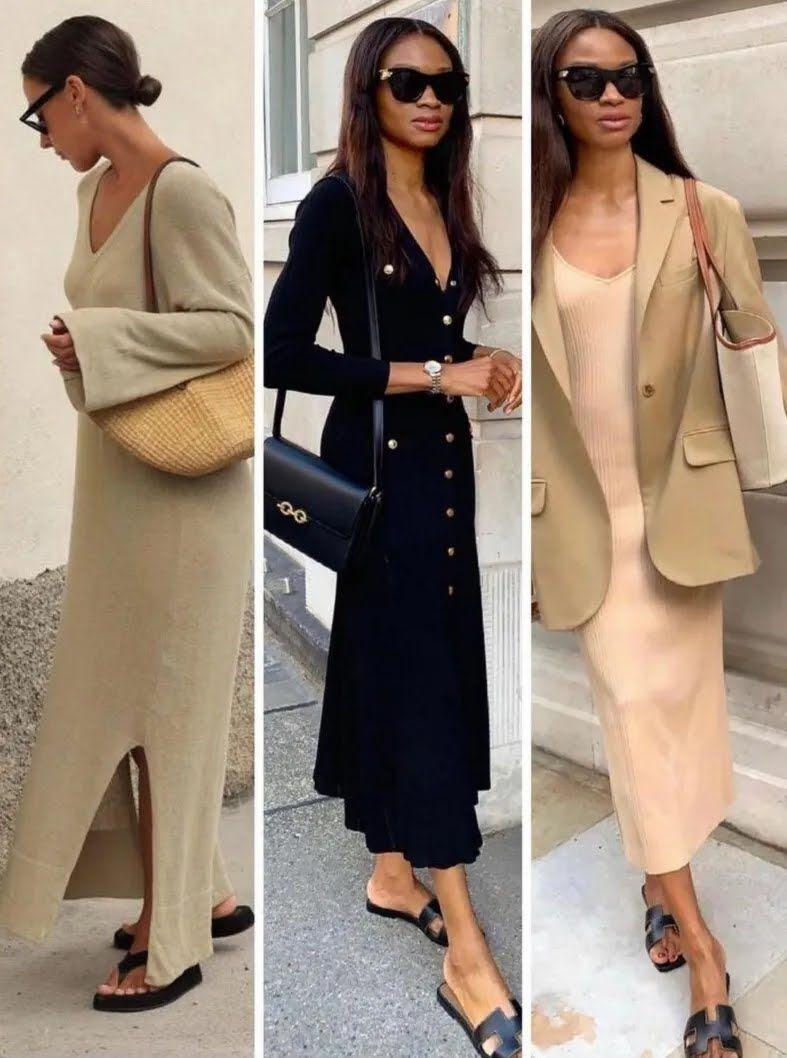 Длинные платья и пиджаки.