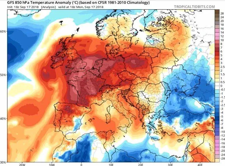 Карта жары в Европе