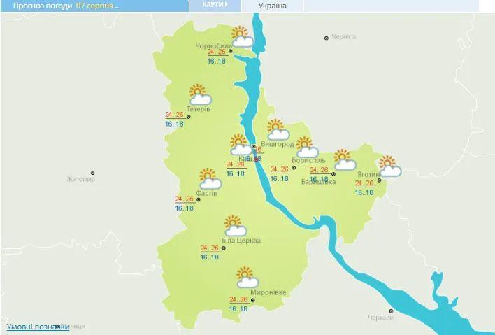 Погода в Киевской области 7 августа