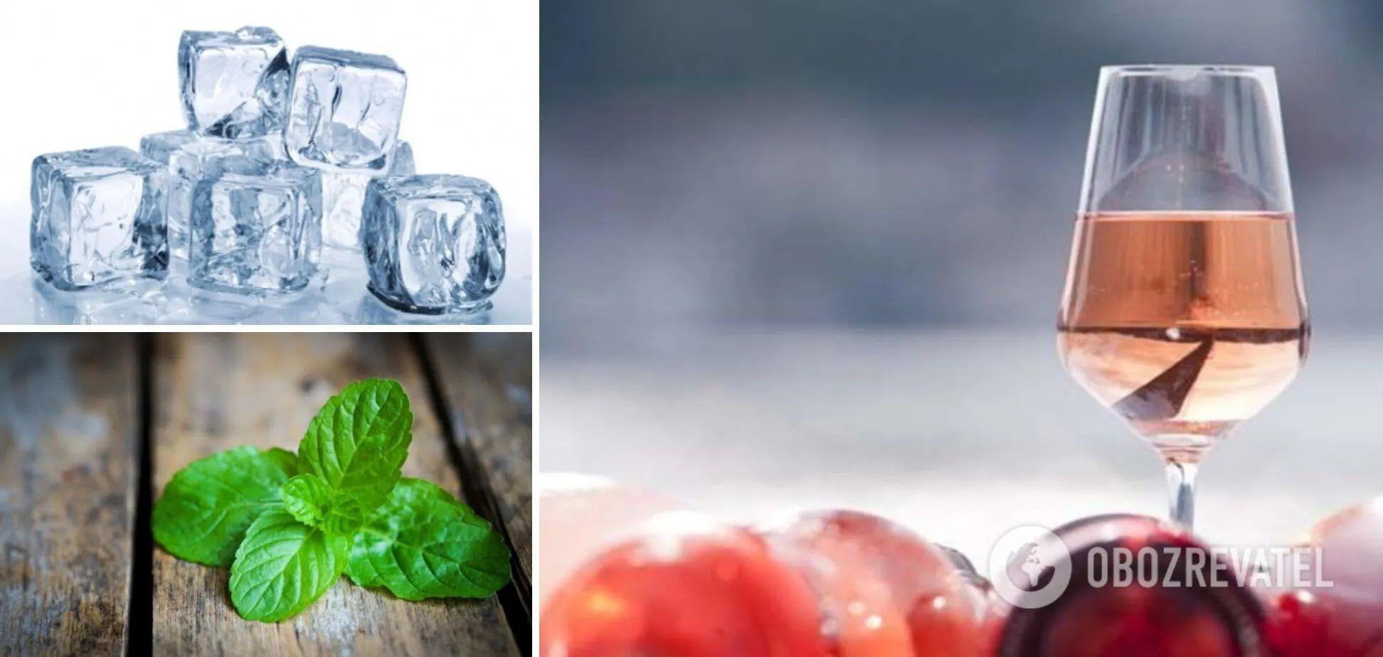 Інгредієнти для сангрії – вино, лід, м'ята