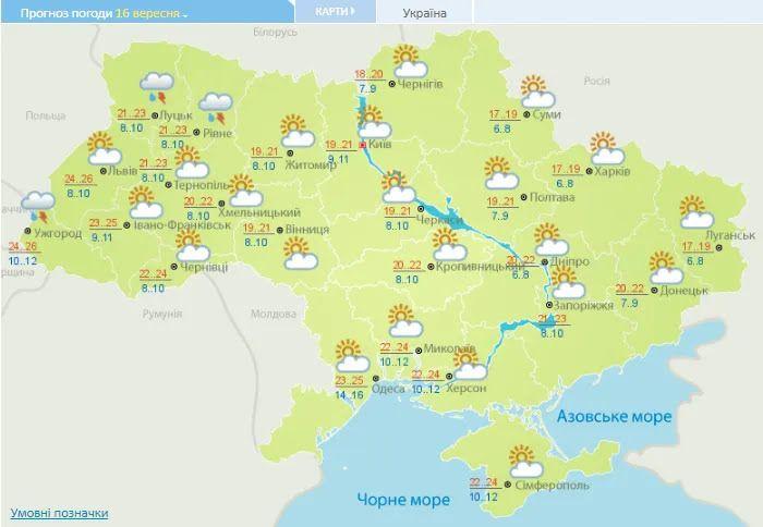 Погодная карта Украины