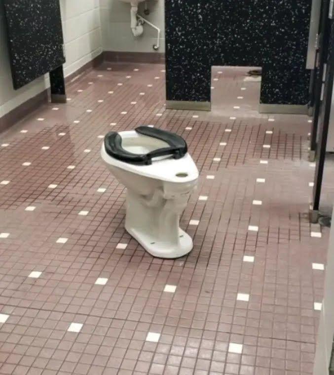 Зірваний унітаз у шкільному туалеті