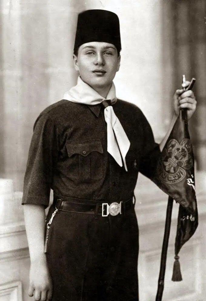 Принц Фарук в форме скаута, 1933 год