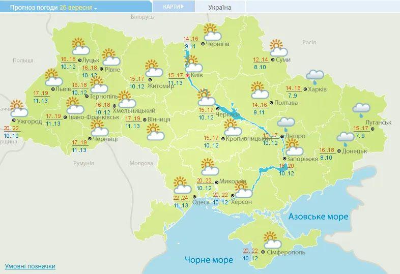 Прогноз погоды в Украине на 26 сентября.