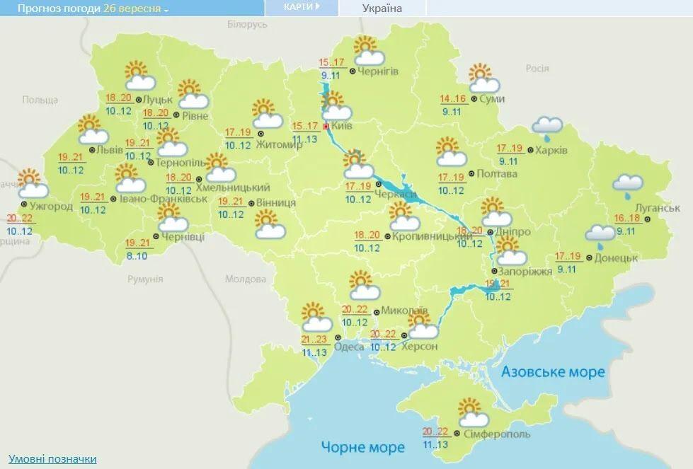 Прогноз погоды в Украине на 26 сентября