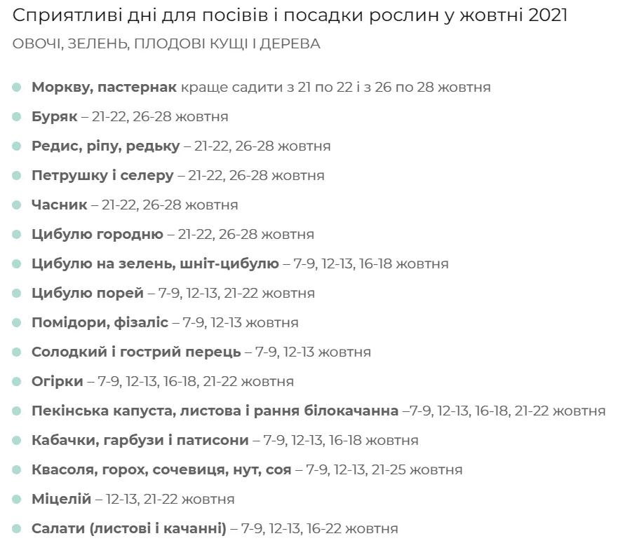 Посівний місячний календар на жовтень 2021 року