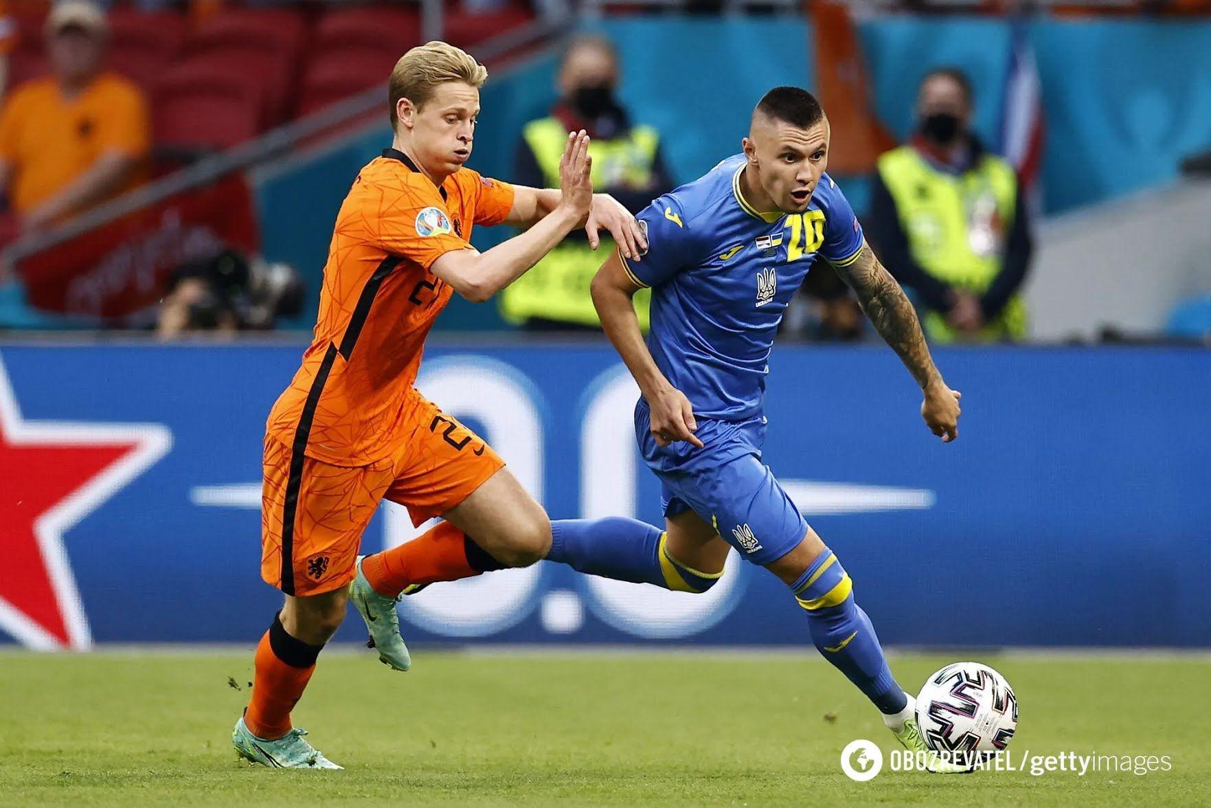 Олександр Зубков в матчі з Нідерландами.
