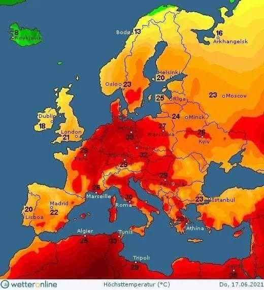 Карта температури в Україні 17 червня