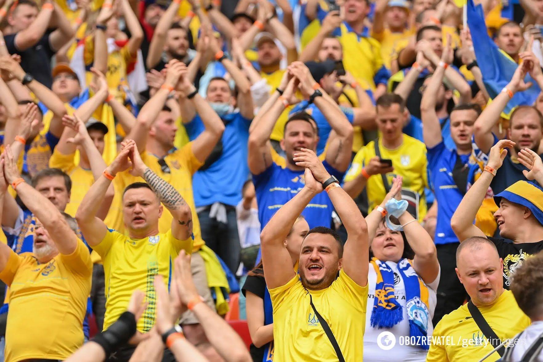Украинские болельщики на матче в Бухаресте