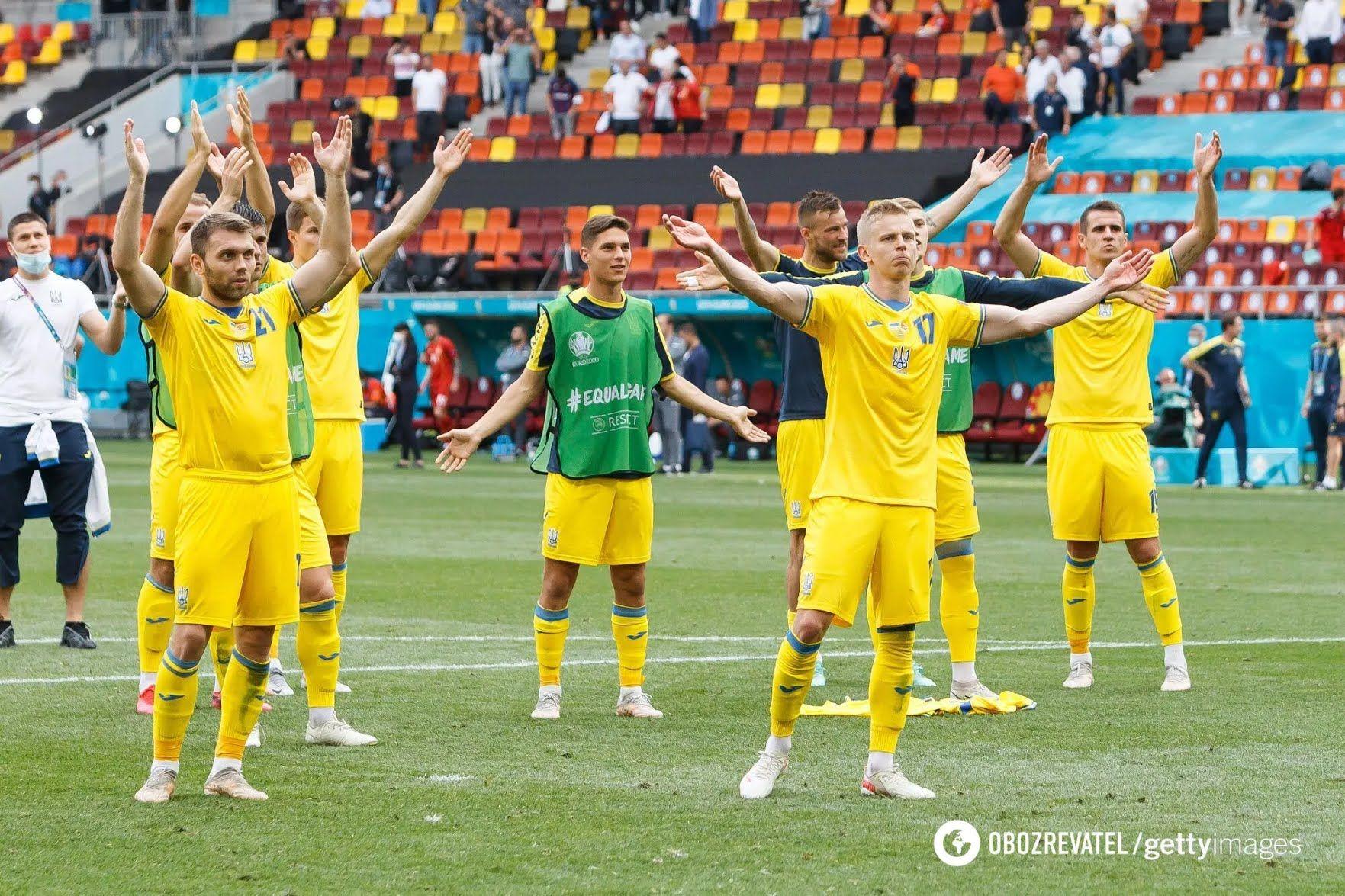 Збірна України святкує перемогу на Євро-2020.
