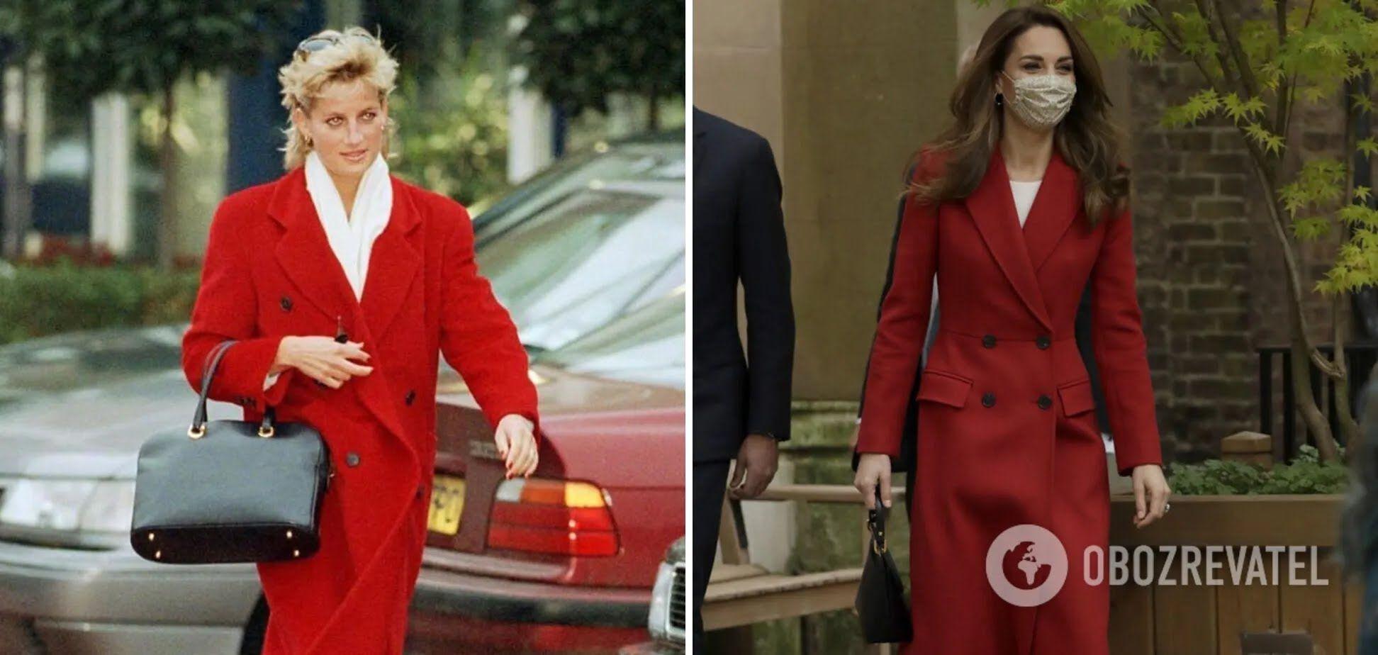 Принцеса Діана і Кейт Міддлтон в червоних пальто і білих блузах.