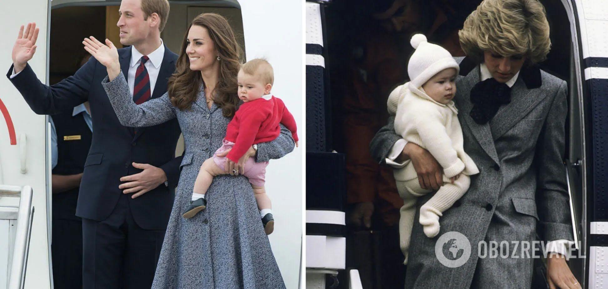 Кейт Міддлтон і принцеса Діана виходять з літака з синами на руках.
