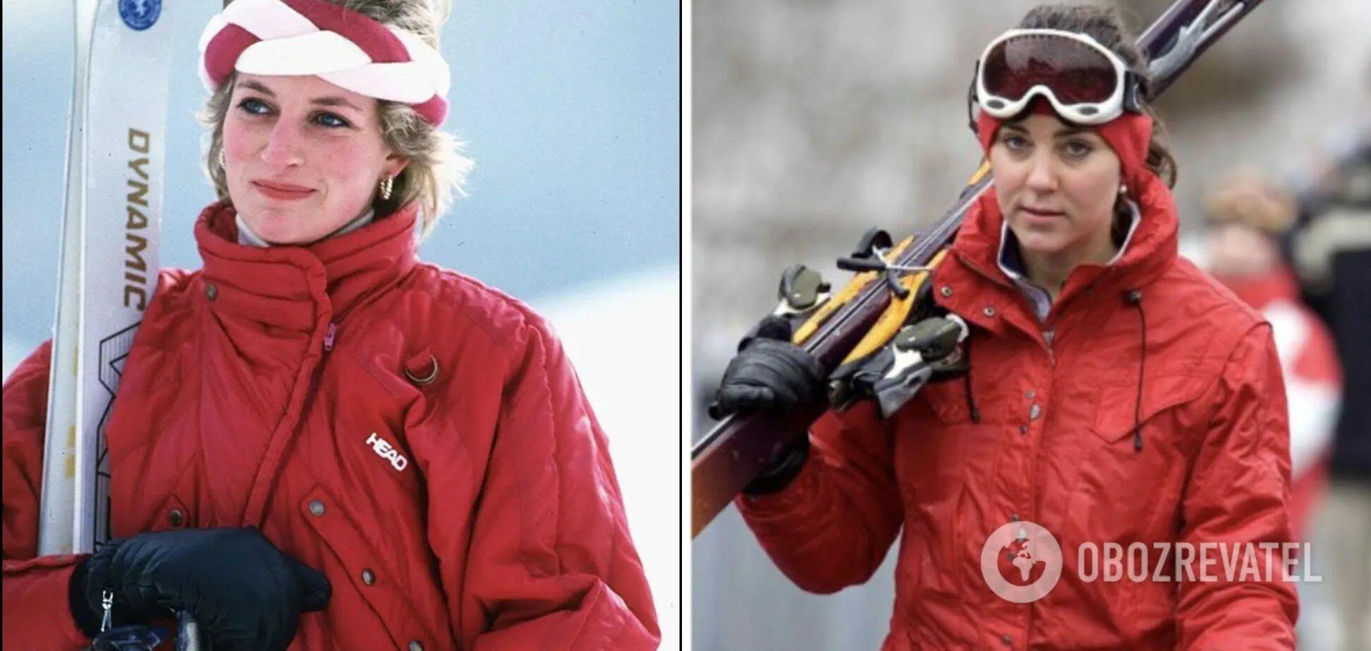 Кейт Міддлтон і принцеса Діана каталися на лижах у схожих червоних куртках.
