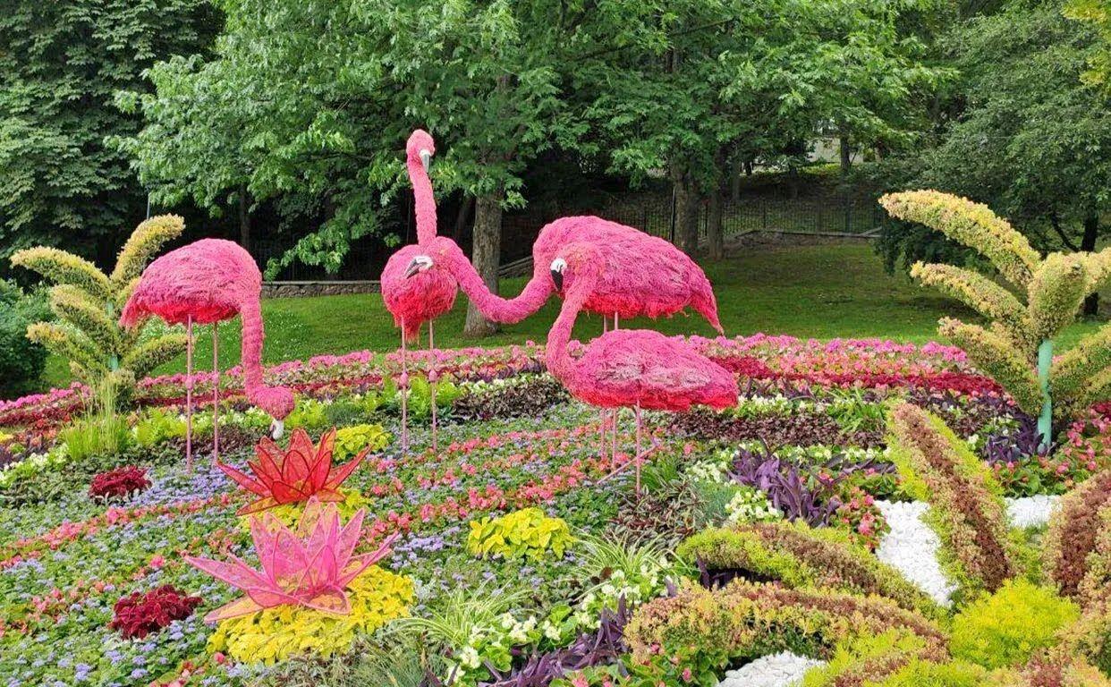 На создание скульптур ушло сотни тысяч цветов.