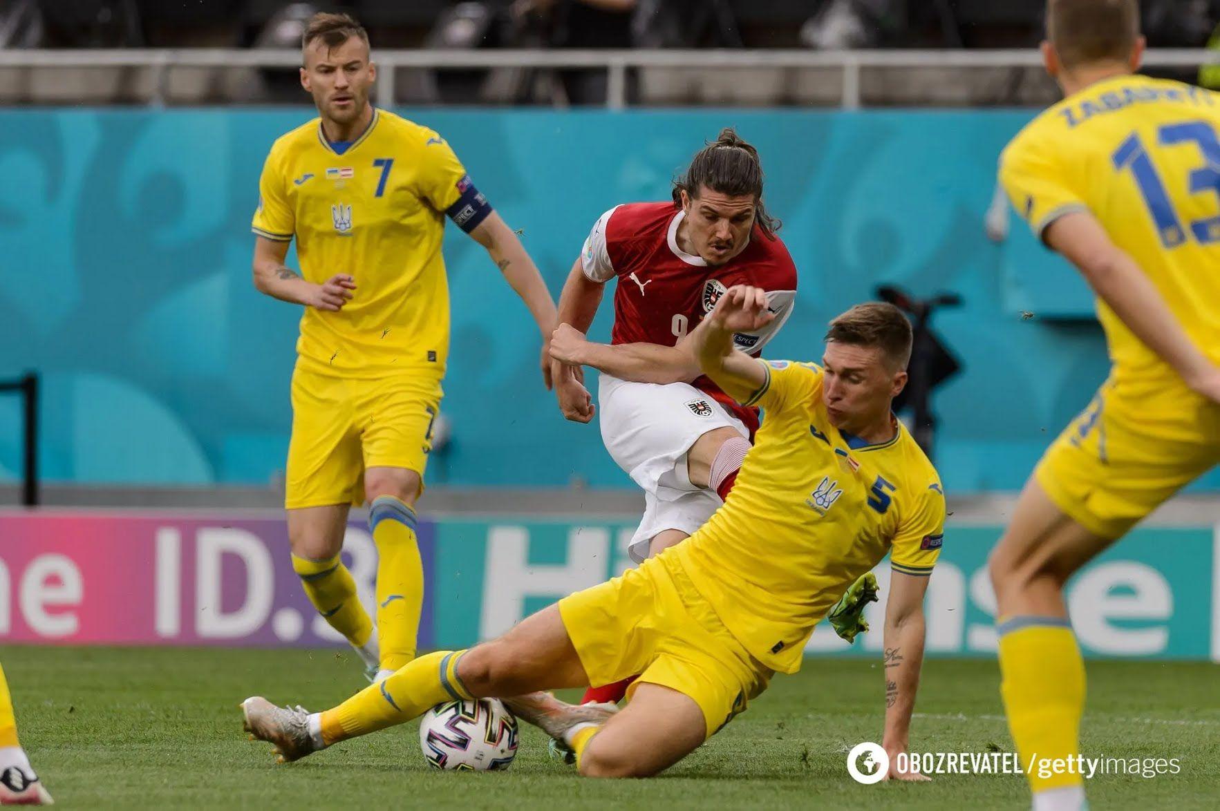 Українці в матчі з Австрією.