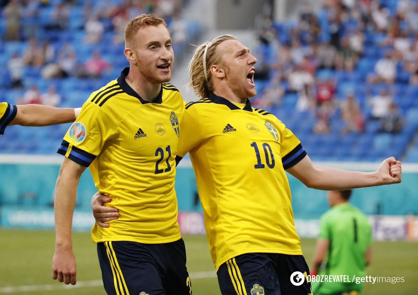 Еміль Форсберг святкує гол Польщі.